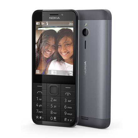 "Nokia 230 Dark Silver, 2.8 "", TFT, 240 x 320 pixels, 16 MB, Dual SIM, Mini-SIM, Bluetooth, 3.0, USB version microUSB 1.1, Built-in camera, Main camera 2 MP, Secondary camera 2 MP, 1200 mAh"