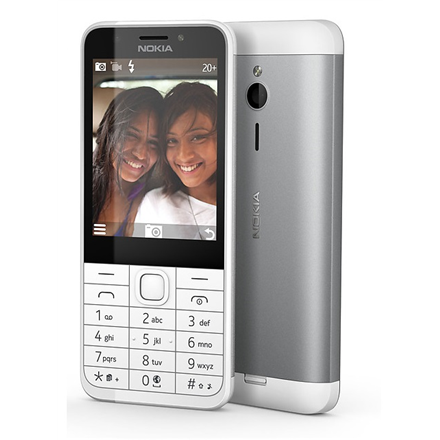 "Nokia 230 Silver, 2.8 "", TFT, 240 x 320 pixels, 16 MB, Dual SIM, Mini-SIM, Bluetooth, 3.0, USB version microUSB 1.1, Built-in camera, Main camera 2 MP, Secondary camera 2 MP, 1200 mAh"