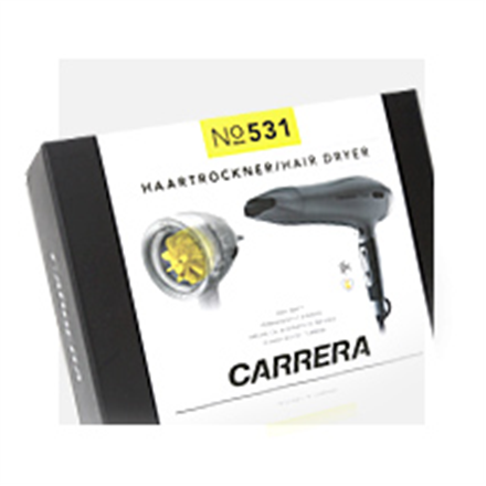 Carrera Hair dryer No. 531 Ionic function, Motor type Power boost: durable DC motor with titanium and ceramic coating and AC turbine, 2400 W, Grey/Black
