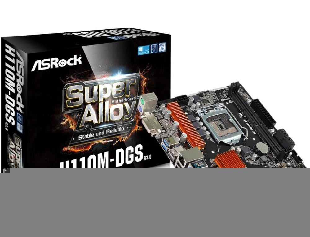 Mainboard ASROCK Intel H110 Express LGA1151 MicroATX 1xPCI-Express 2.0 1x 1xPCI-Express 3.0 16x Memory DDR4 Memory slots 2 1xDVI 1xAudio-In 1xAudio-Out 1xMicrophone 4xUSB 2.0 2xUSB 3.0 2xPS/2 1xRJ45 H110M-DGSR3.0