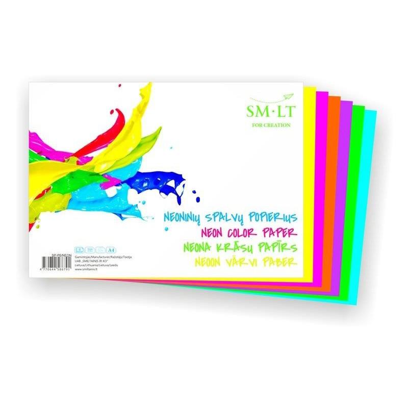 Värviline paber SMLT A4, 120g, 6l, neon