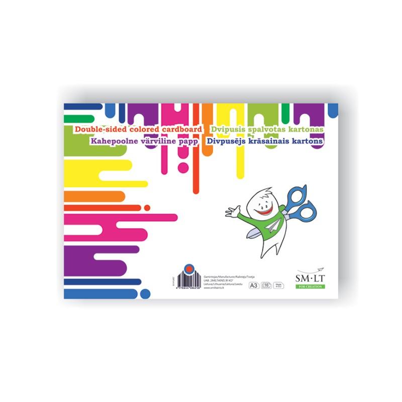 Värviline kartong, SMLT A3, 190g,16l (8värvi)