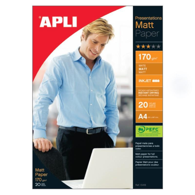 Fotopaber Apli, A4/20 lehte 170g, 2-poolne matt, tindiprinterile