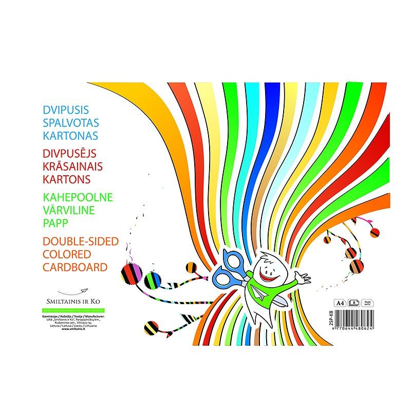 Värviline kartong SMLT A4, kahepoolne, 190g, assortii, 8 lehte
