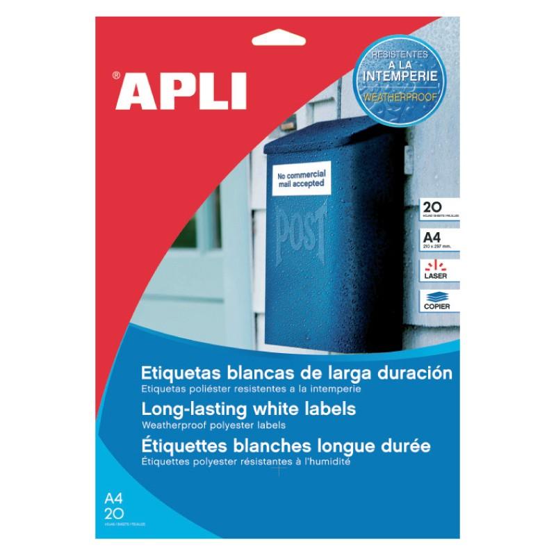 Etiketid Apli  210 x 297mm 20l/pk, vee- ja ilmastikukindel valge