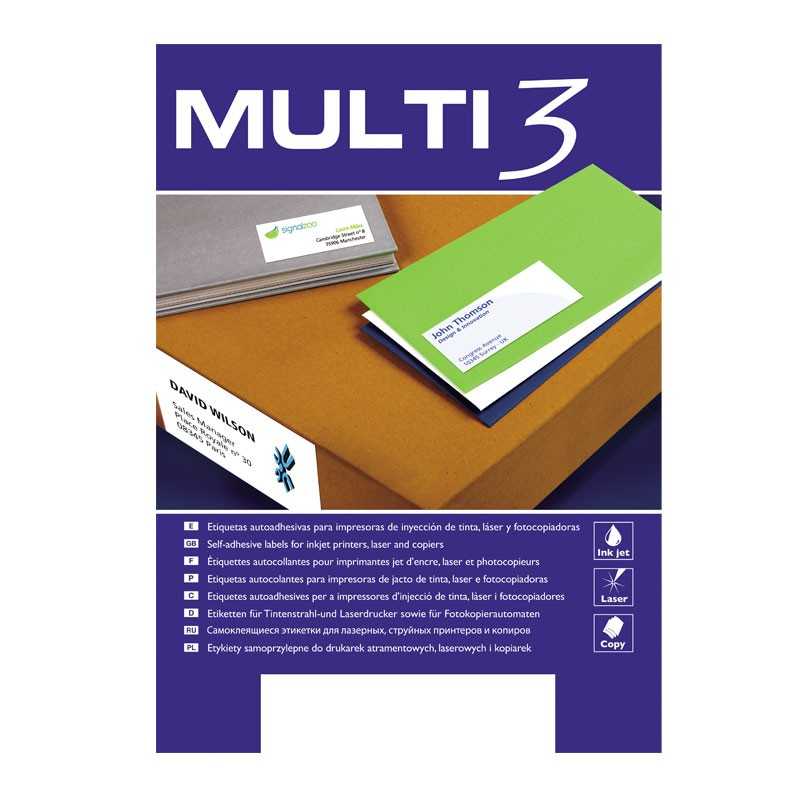 Etiketid iseliimuvad Multi 3, A4 99.1x67.7mm 8/100 lehte, ümar nurk