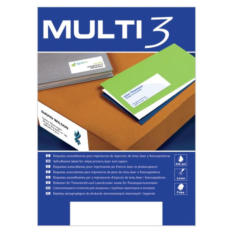 Etiketid iseliimuvad Multi 3, A4 105x57mm 10/100 lehte
