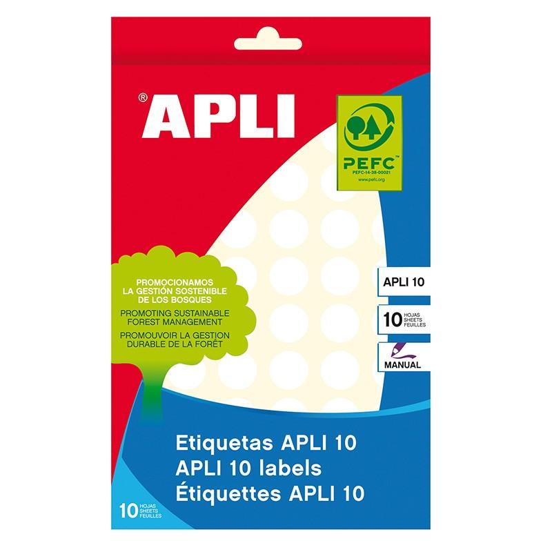 Etiketid Apli ümarad iseliimuvad D=13mm valged, 10l/pk