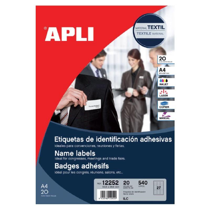 Etiketid Apli iseliimuvad tekstiilile A4, 63,5x29,6mm 20 lehte, ümarad nurgad