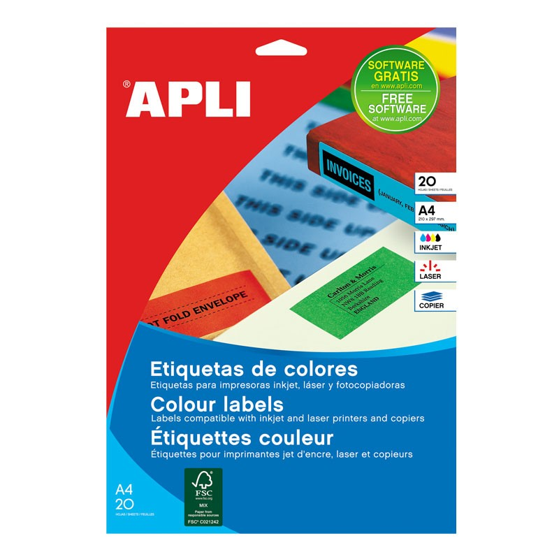 Etiketid Apli ILC iseliimuvad 70 x 37mm 20l/pk punane
