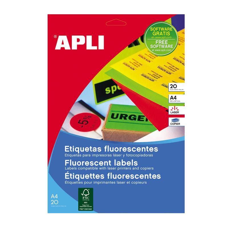 Etiketid Apli iseliimuvad neoon 99,1 x 67,7mm 20l/pk oranž