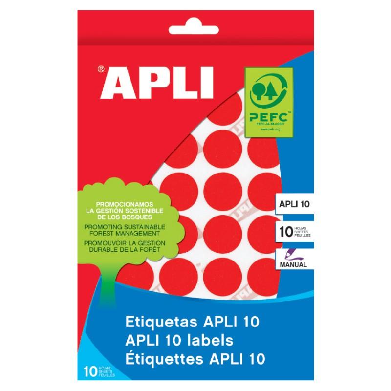 Etiketid Apli ümarad iseliimuvad D=10mm 8l/pk punane