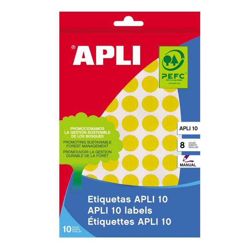 Etiketid Apli ümarad iseliimuvad D=13mm 8l/pk kollane