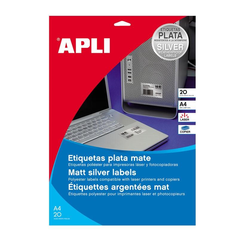 Etiketid Apli 45,7 x 21,2mm, 20 l, ümar nurk, hõbe, v-kindel, laserpr-le