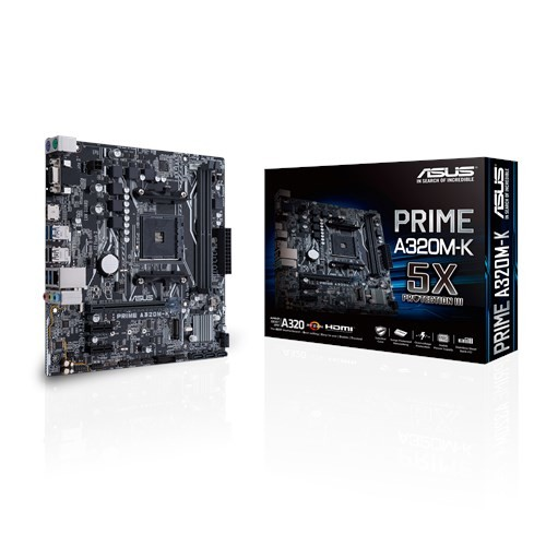 Asus PRIME A320M-K Processor family AMD, Processor socket AM4, Max. 32GB, DDR4, Memory slots 2, Supported hard disk drive interfaces M.2, PCI Express 3.0, Serial ATA, Number of SATA connectors 4, Chipset AMD A, Micro ATX