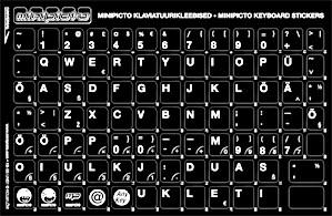Klaviatuurikleebis EST must taust/valge sümbol