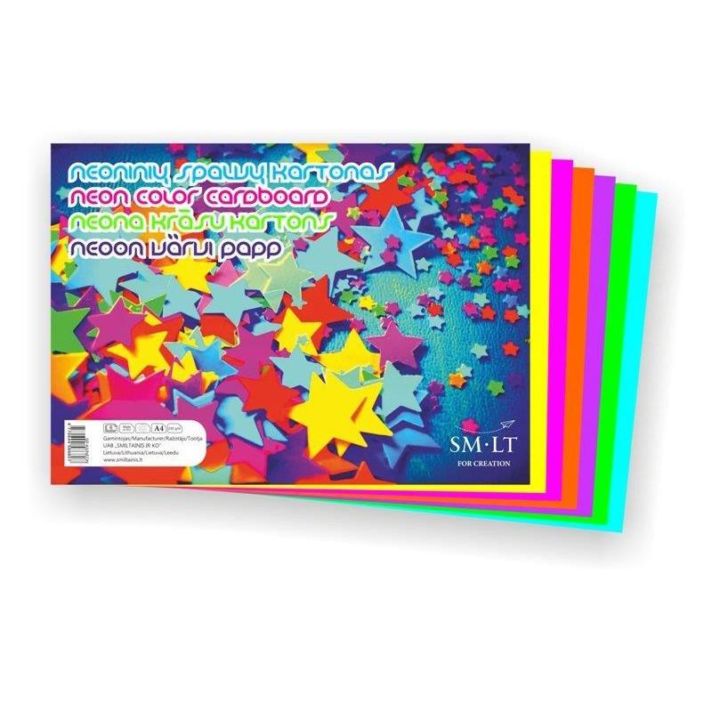 Värviline kartong SMLT A4, 220g, 6l