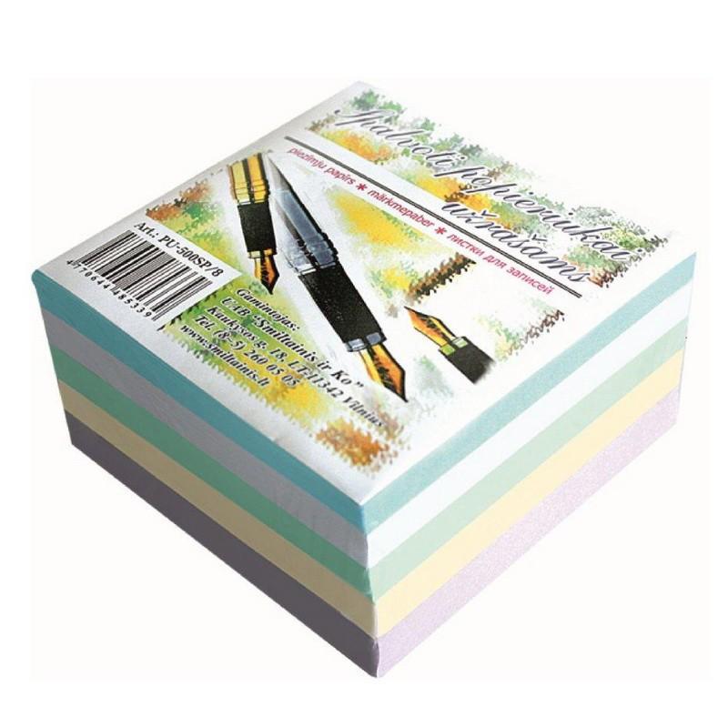 Märkmepaber täiteplokk SMLT 90x90 mm, 500 lehte, värvilised