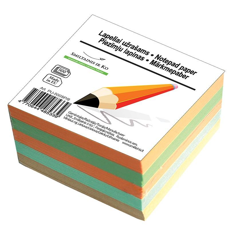 Märkmepaber SMLT 8x8cm,täiteplokk, värviline, 500 lehte