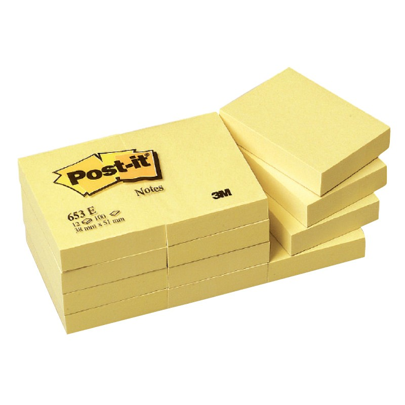 Märkmepaber Post-it 51x76mm, kollane, 100l