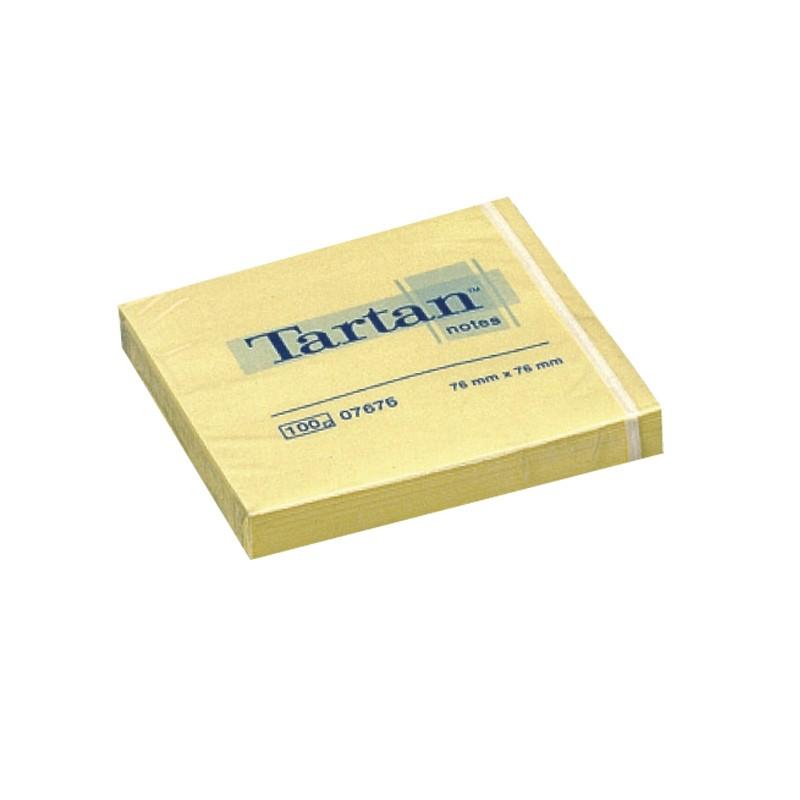 Märkmepaber Tartan 76x76mm, kollane, 100 lehte
