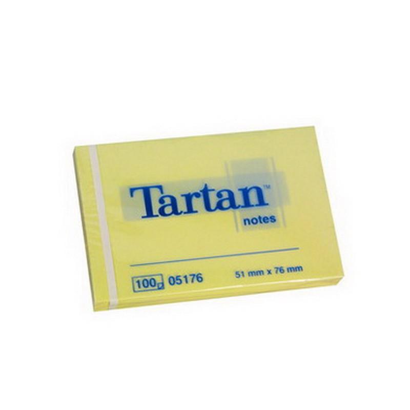 Märkmepaber Tartan 51x76mm, kollane, 100l