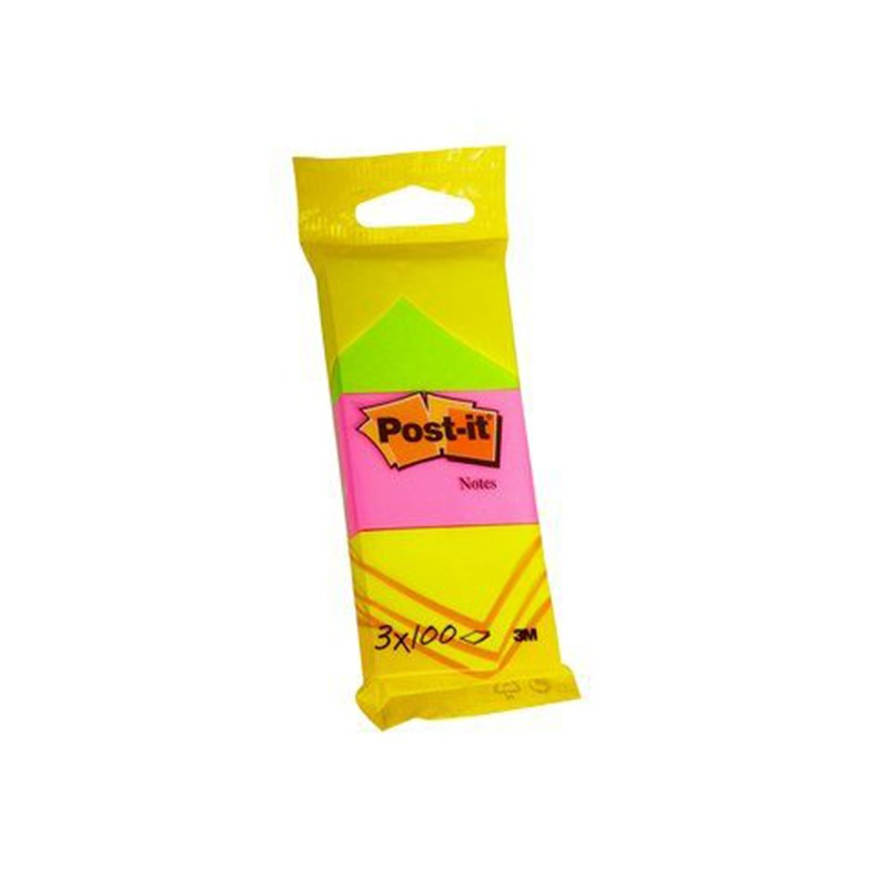 Märkmepaber Post-it 6812 Neon 51x38mm, 3tk, assortii