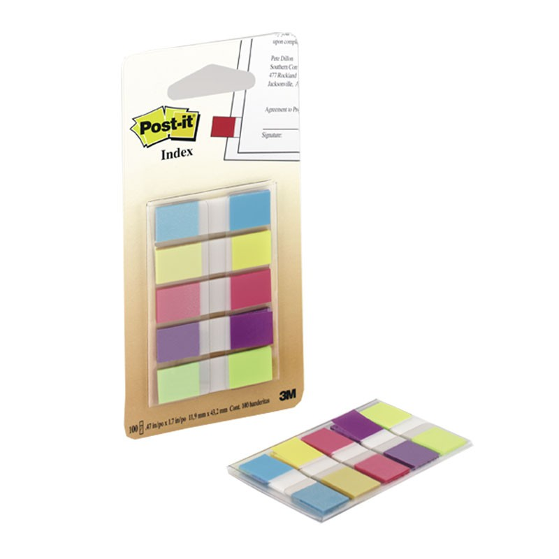 Indeksid Post-it 683-5 11,9 x 43,1mm 20tk/pk 5 värvi, plast