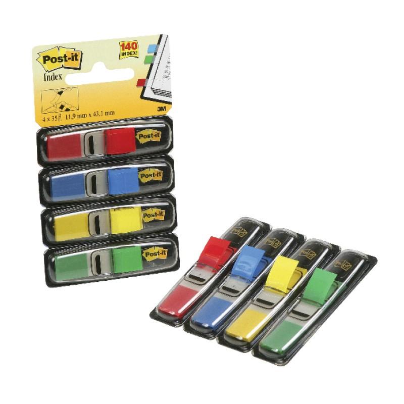 Indeksid  Post-it 11,9 x 43,1 mm, 4 värvi, 4*35 tk