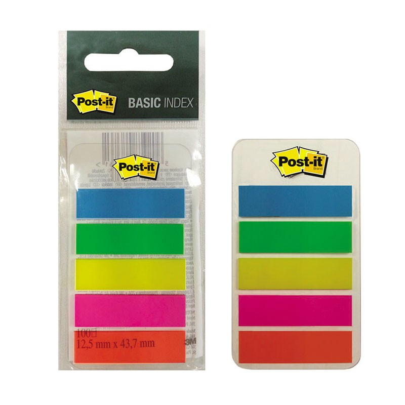 Indeksid POST-IT 12x43 mm 683 BASE-5EE 5 värvi 20 l
