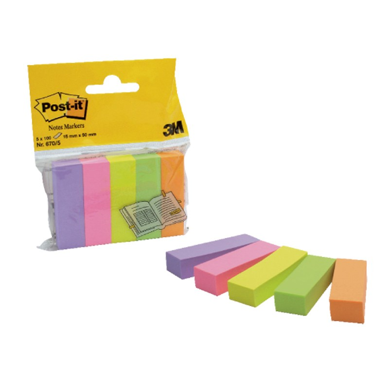 Indeksid paberist Post-it 670-5 15x50mm, 5 värvi x 100 lehte