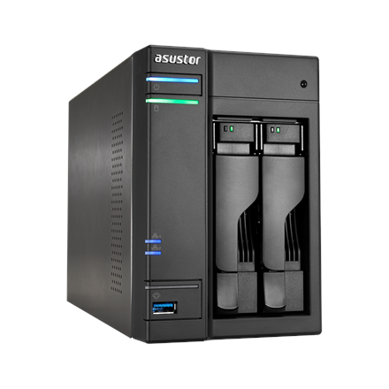 Asus Asustor Tower NAS AS6302T up to 2 HDD/SSD, Intel Celeron Dual-Core, J3355, Processor frequency 2 GHz, 2 GB, DDR3L, Black