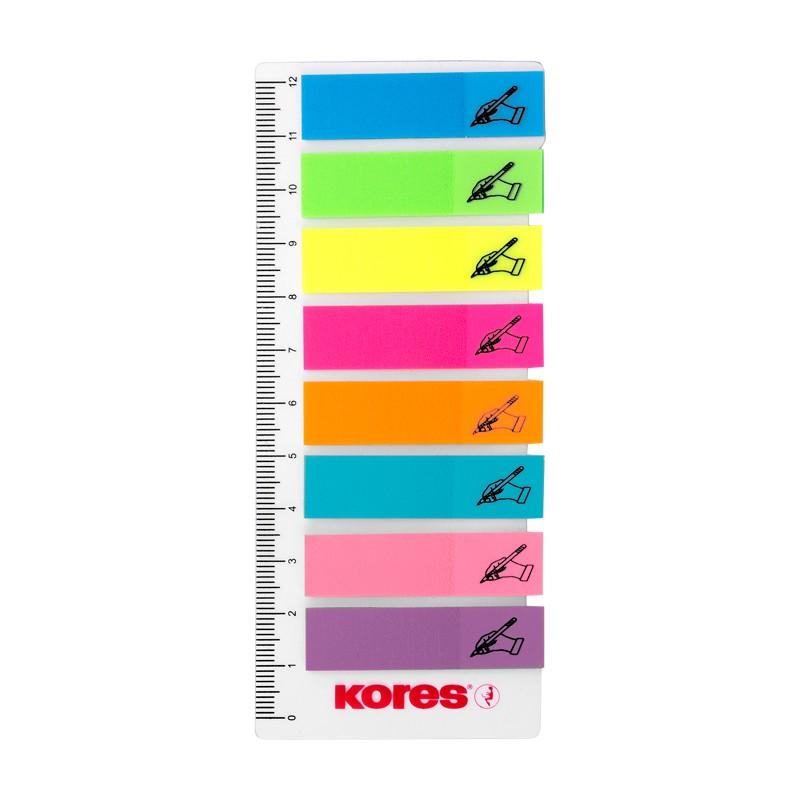 Indeksid joonlauaga KORES Sign Here 10cm, 12x45mm, 8 värvi