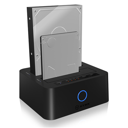 """ICY BOX IB-123CL-U3 Dockingstation for 2.5""""and 3.5"""" SATA HDD to USB 3.0 Raidsonic ICY BOX 2bay docking- and clone station for 2.5"""" und 3.5"""" SATA HDDs/SSDs with JBOD function and USB 3.0, UASP & SATA III Support"""
