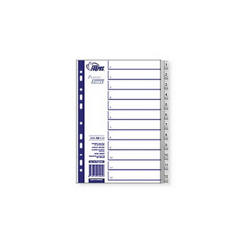 Vahelehed Forpus Maxi A4 plast 1-12 trükitud numbritega