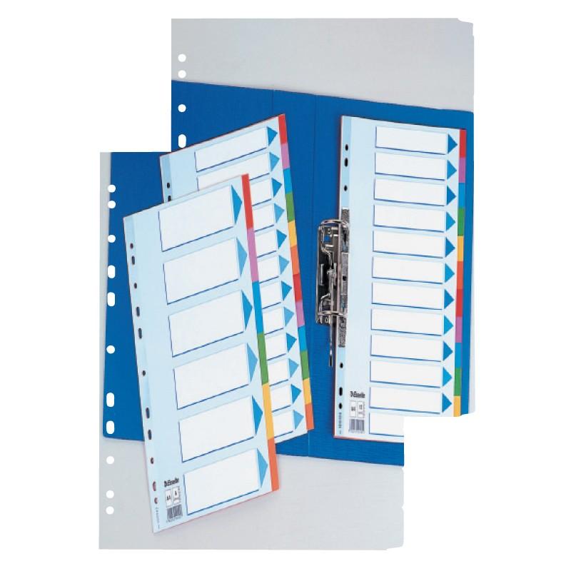 Vahelehed Esselte A4/ 1-5 kartong, värvilised indeksid