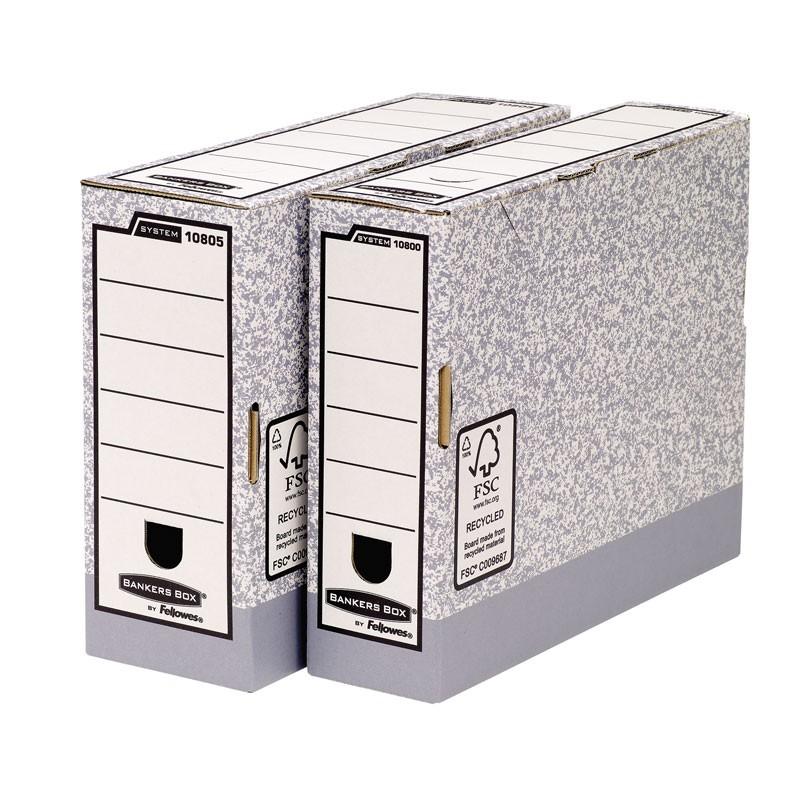 Arhiivikarp Fellowes A4, selg 80mm, hall/valge kartong 3Re