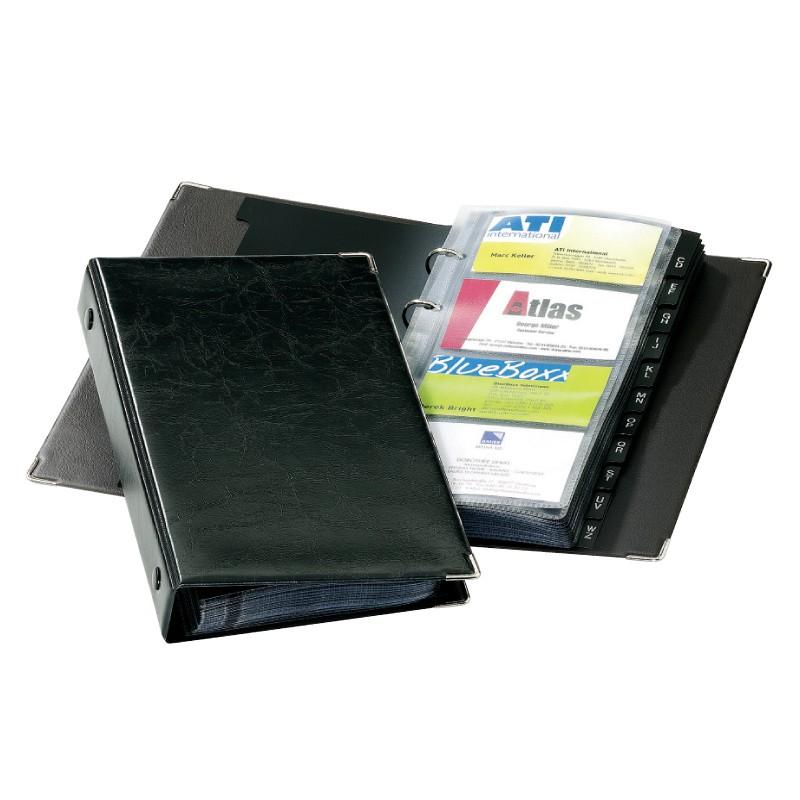 Visiitkaardihoidja Durable Visifix, 200 kaardile, metallnurgad, must
