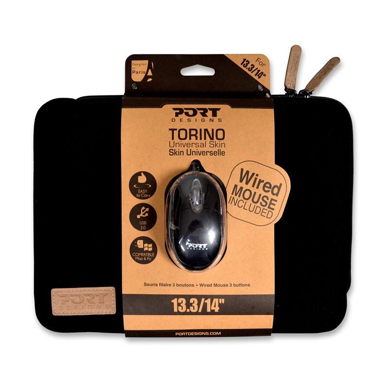 """Kaitseümbris PORT Torino Skin, 13,3""""-14"""", + hiir, must"""