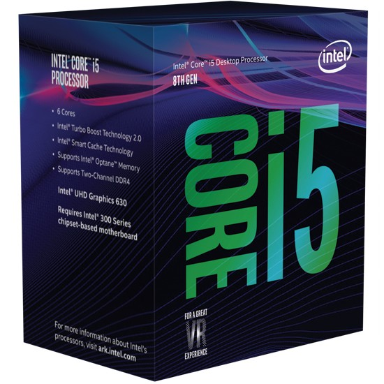 Intel i5-8400, 2.8 GHz, LGA1151, Processor threads 6, Packing Retail, Cooler included, Processor cores 6, Component for PC