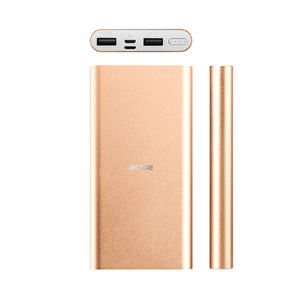 Acme Power bank PB15GD 10000 mAh, Gold, 2 USB ports, Aluminium, Li-polymer