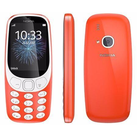 "Nokia 3310 (2017) Red, 2.4 "", TFT, 240 x 320 pixels, 16 MB, Dual SIM, Micro-SIM, Bluetooth, 3.0, USB version microUSB 2.0, Built-in camera, Main camera 2 MP, 1200 mAh"