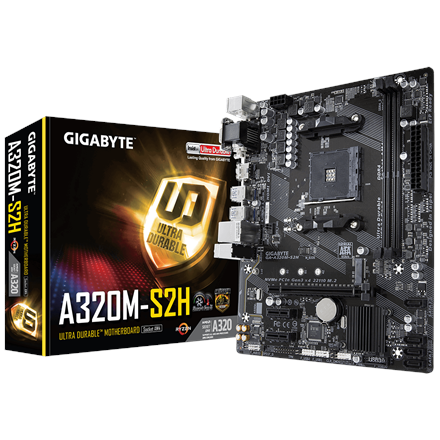 Gigabyte GA-A320M-S2H 3.0 Processor family AMD, Processor socket AM4, DDR4 DIMM, Memory slots 2, Number of SATA connectors 4 x SATA 6Gb/s, Chipset AMD A, Micro ATX