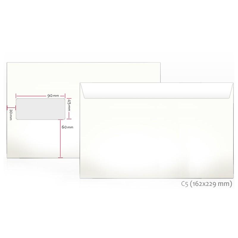 Ümbrikud aknaga (45x90) E5 162x229mm, 1000tk
