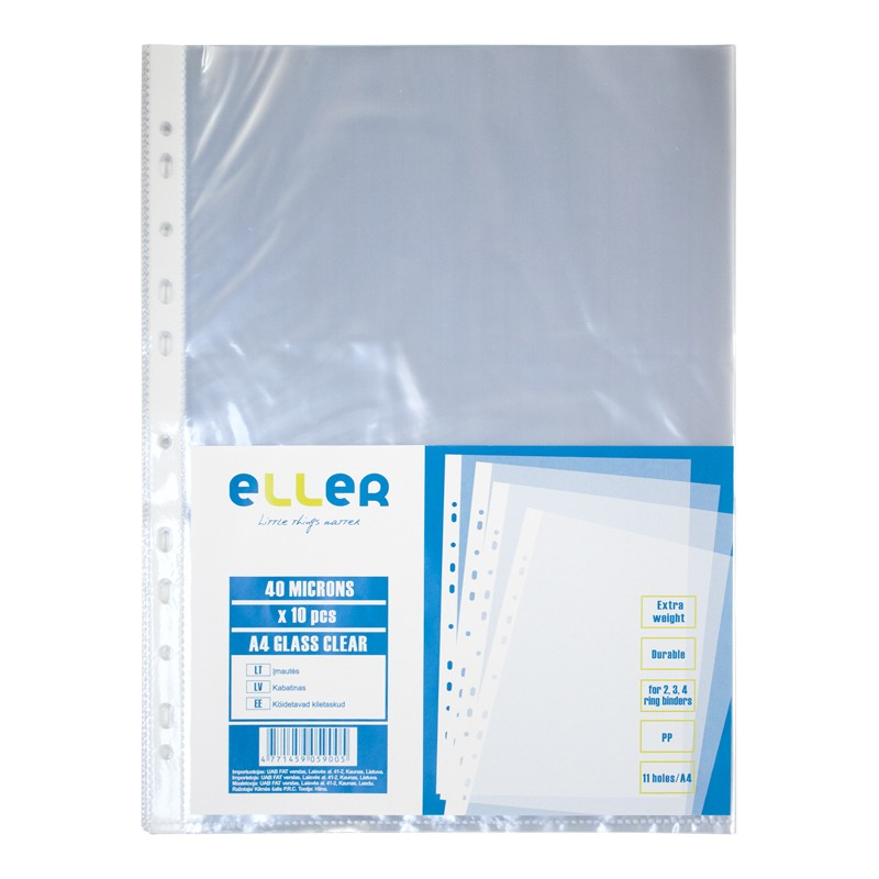 Köidetavad kiletaskud ELLER A4, PP, 40mic, läikiv, 10 tk