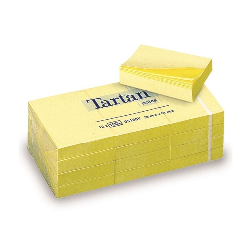 Märkmepaber Tartan 38x51mm, kollane MB, 12 tk