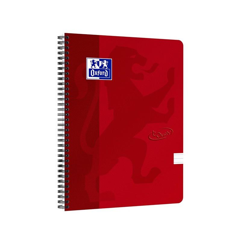 Spiraalköitega kaustik OXFORD TOUCH A4+, 70 lehte, jooneline, punane