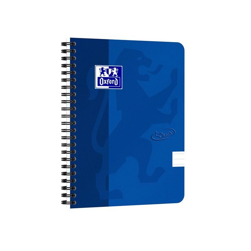 Spiraalköitega kaustik OXFORD TOUCH A5+, 70 lehte, jooneline, sinine