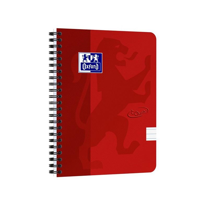 Spiraalköitega kaustik OXFORD TOUCH A5+, 70 lehte, jooneline, punane