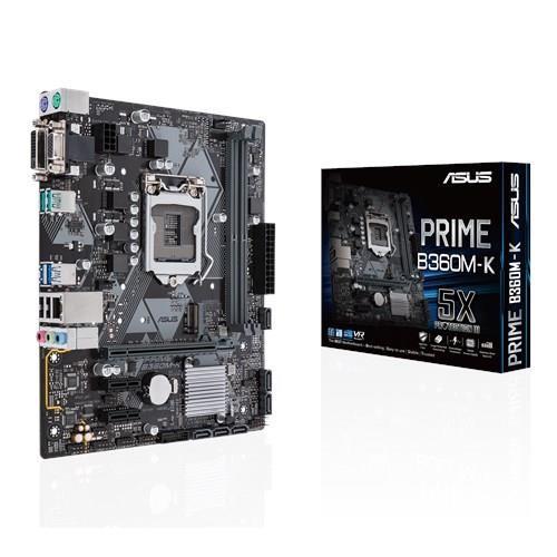 Mainboard ASUS Intel B360 Express LGA1151 MicroATX 2xPCI-Express 3.0 1x 1xPCI-Express 3.0 16x 1xM.2 Memory DDR4 Memory slots 2 1x15pin D-sub 1xDVI 1xAudio-In 1xAudio-Out 1xMicrophone 2xUSB 2.0 4xUSB 3.1 2xPS/2 1xRJ45 PRIMEB360M-K